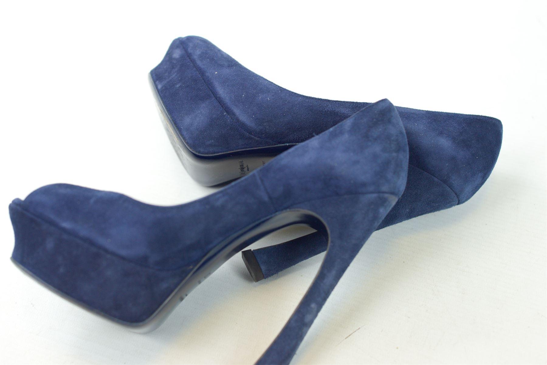 Buy Yves Saint Laurent Blue Suede Palais Platform Peep Toe