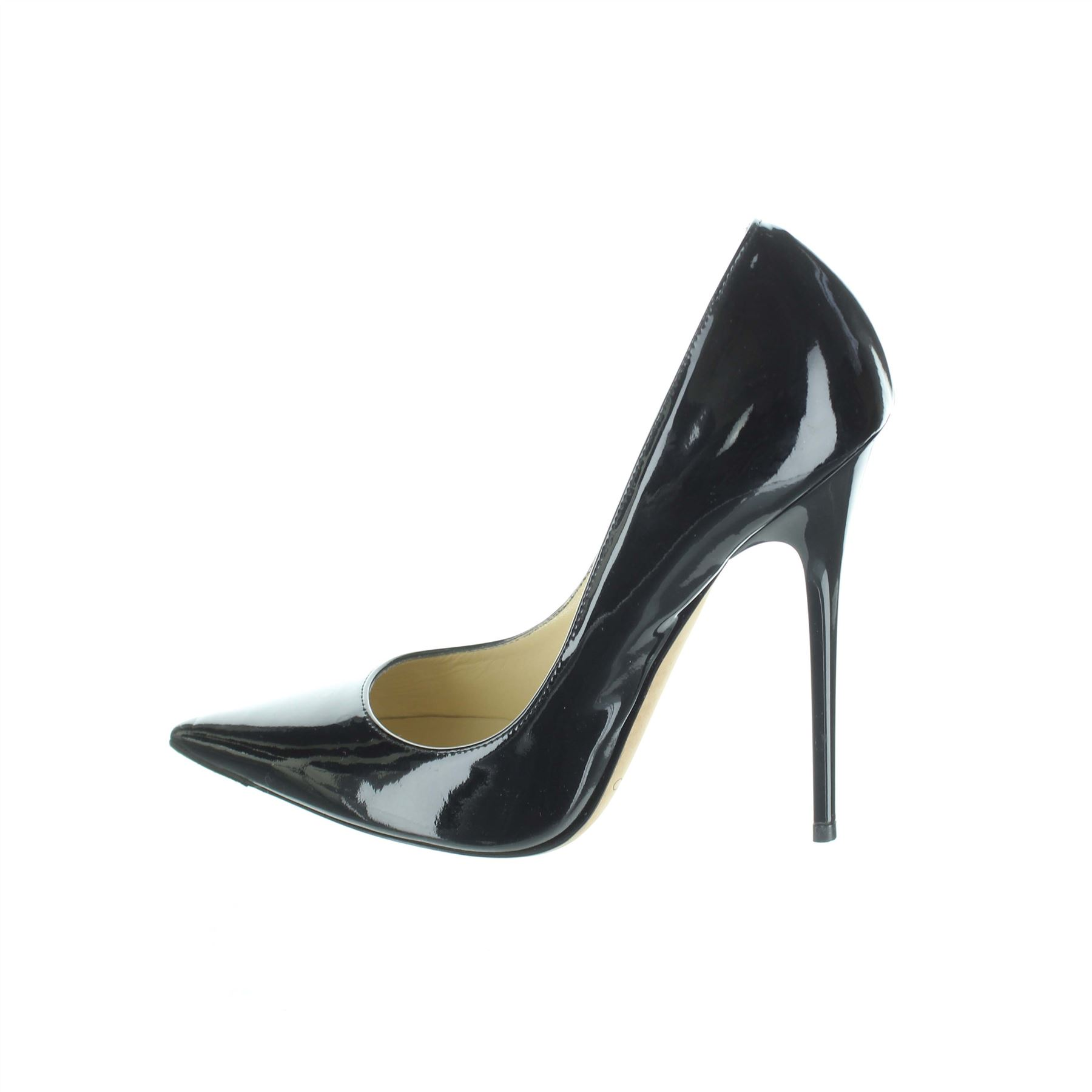 bf26b97984e8 Details about JIMMY CHOO Anouk Black Patent Leather Heels Pumps
