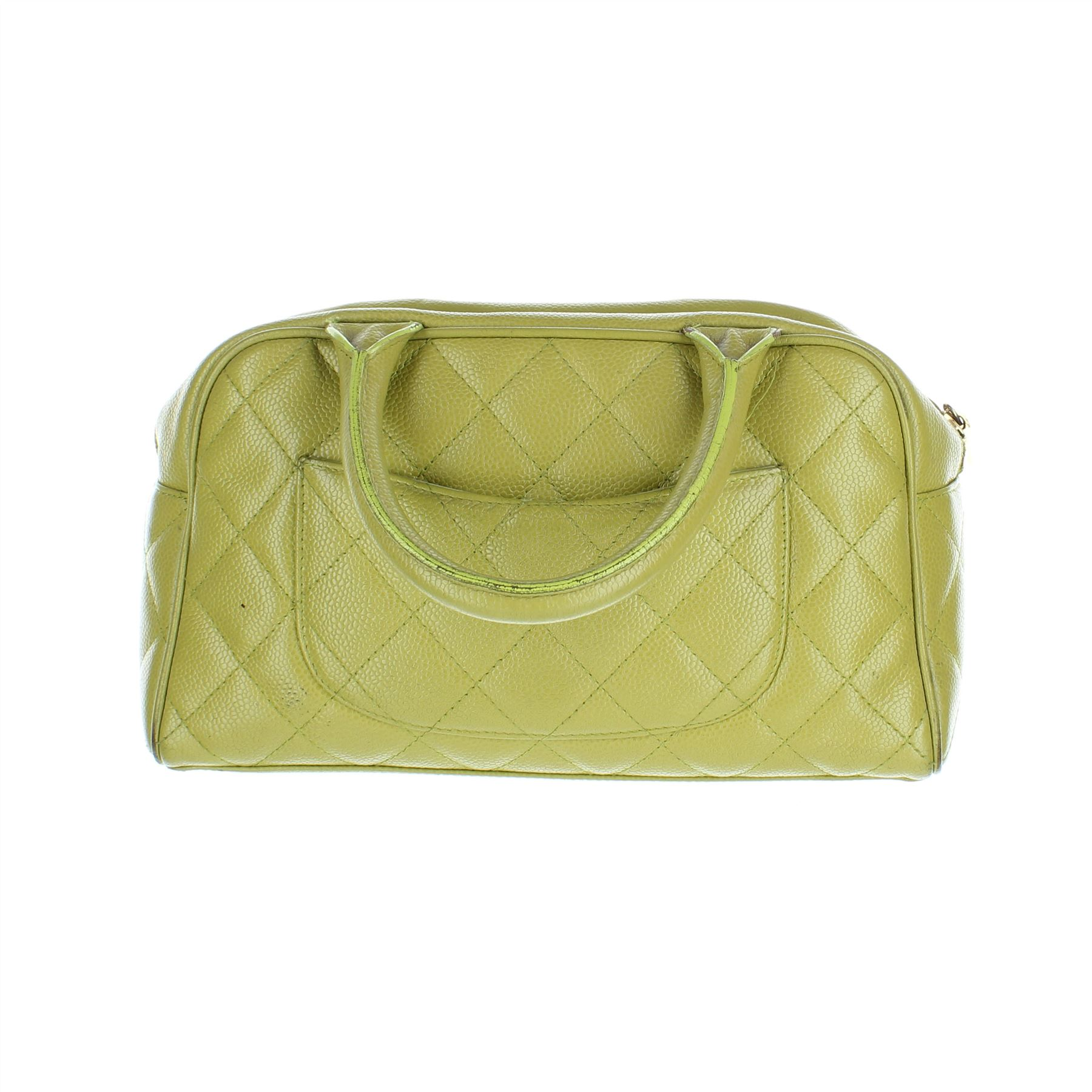 813794109d7489 Details about CHANEL Caviar Bowler Green Leather Handbag, 6.25