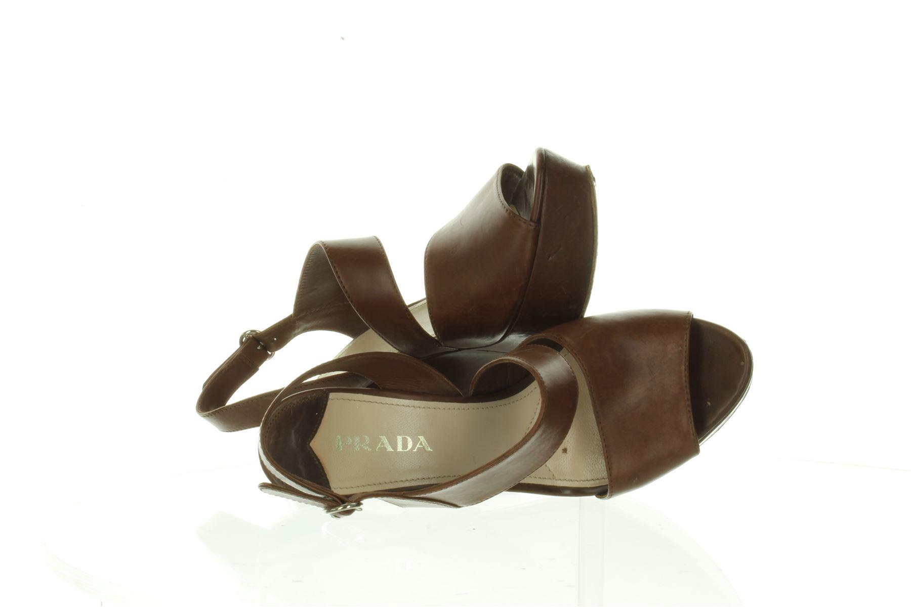 PRADA Braun Leder Wedge Schuhes, UK 4.5 US 7.5 7.5 7.5 EU 37.5 cd29e5