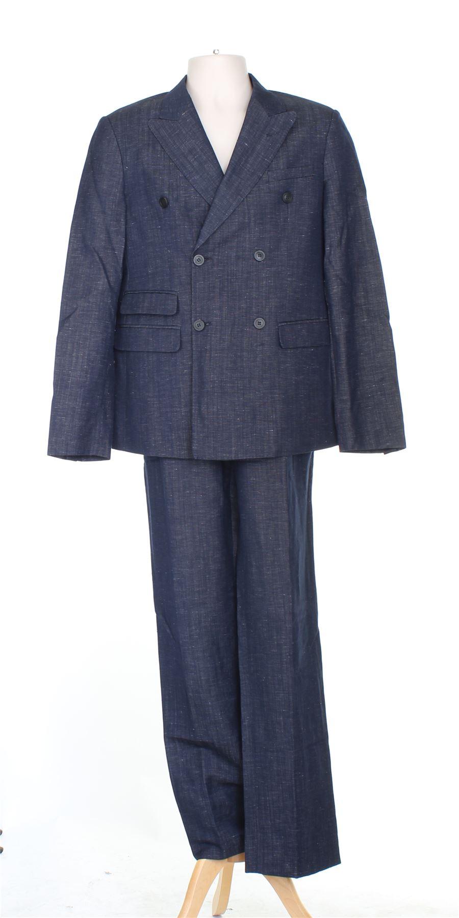 sports shoes b7750 c81c0 Détails sur EMPORIO ARMANI Robert Line Costume en laine bleu à deux pièces,  UK 38 US 38 EU M