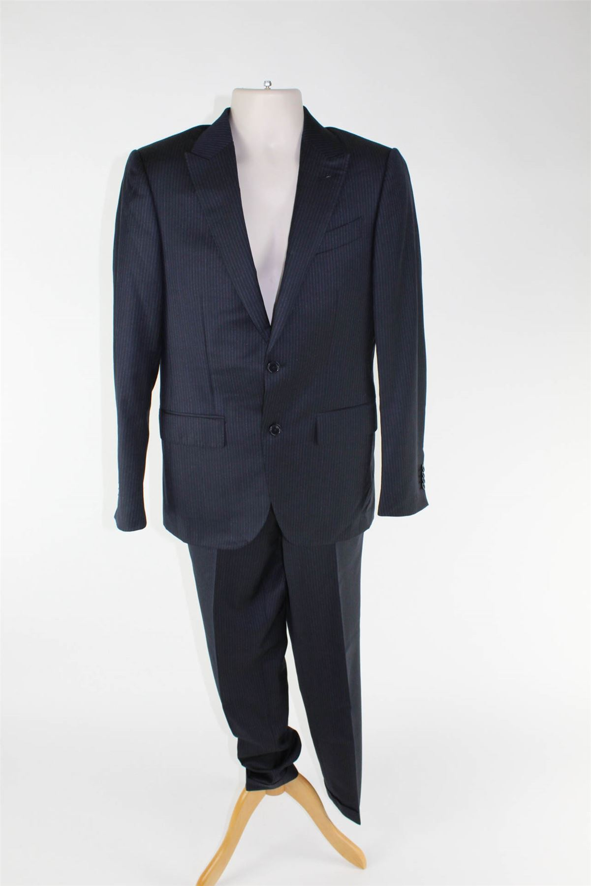 Dettagli su ERMENEGILDO ZEGNA Torin Navy a strisce blu di lana Suit 837dd272249