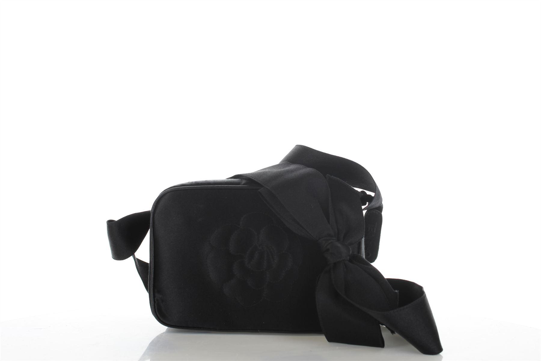 Details about CHANEL Bow Camellia Black Satin Crossbody Bag 480f7ffd6b954