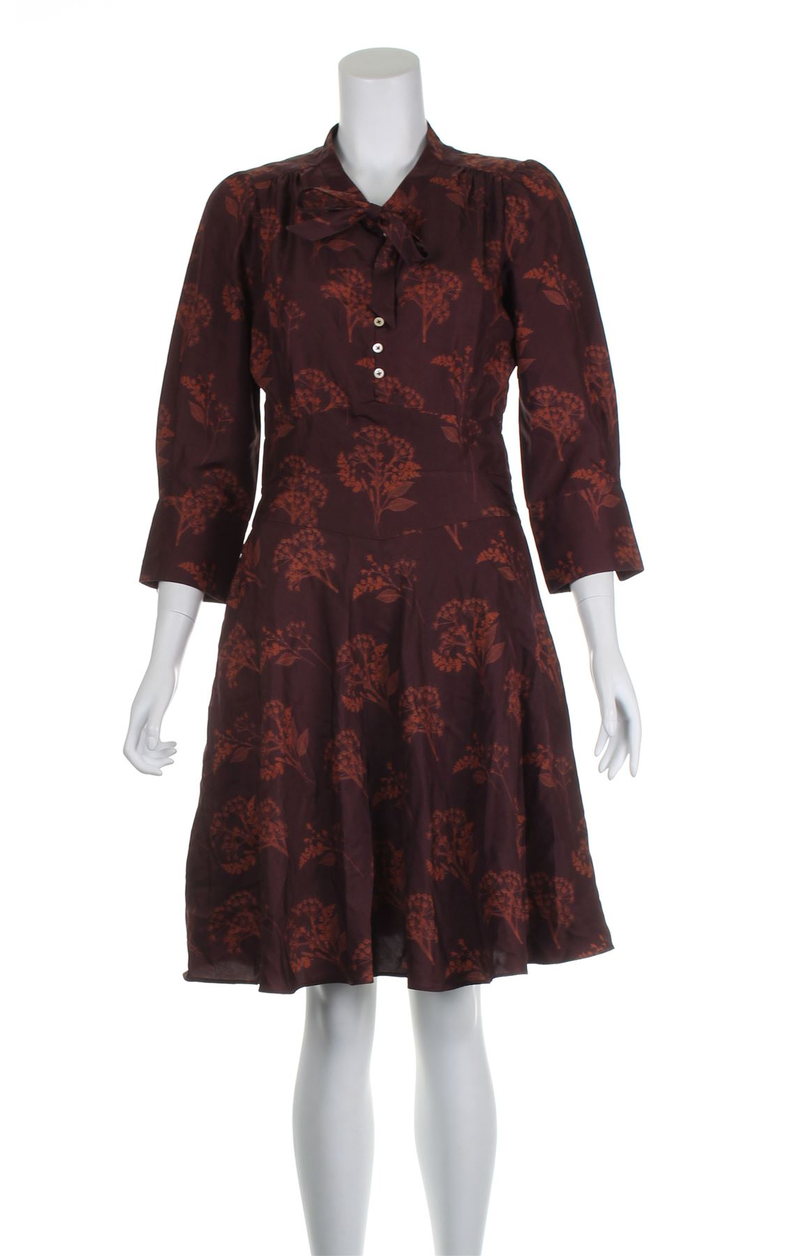 Details about MARGARET HOWELL Burgundy Silk Casual Dress ef9299b9a