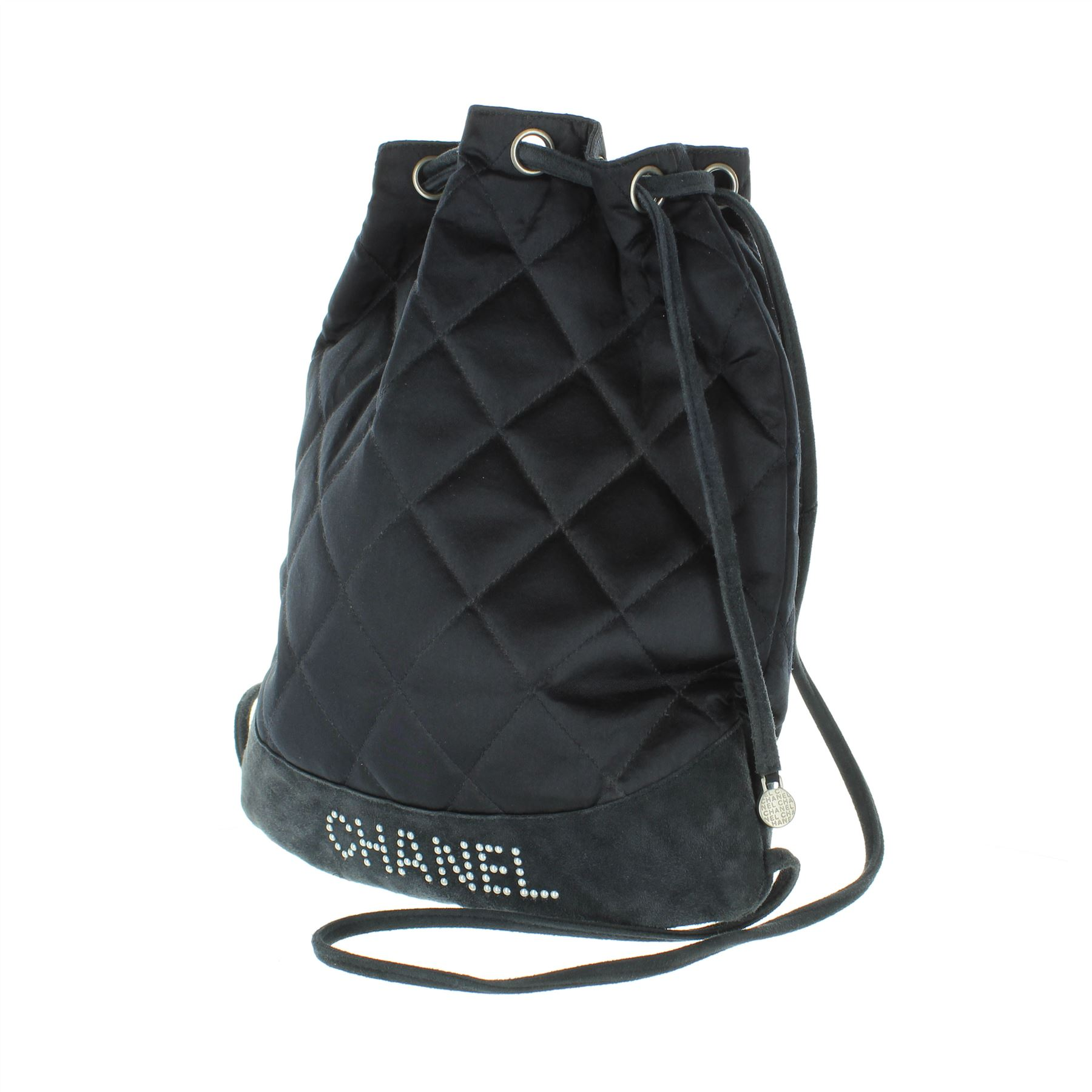 cff6bc6dab08 CHANEL Quilted Navy Blue Satin Backpack, 11.75