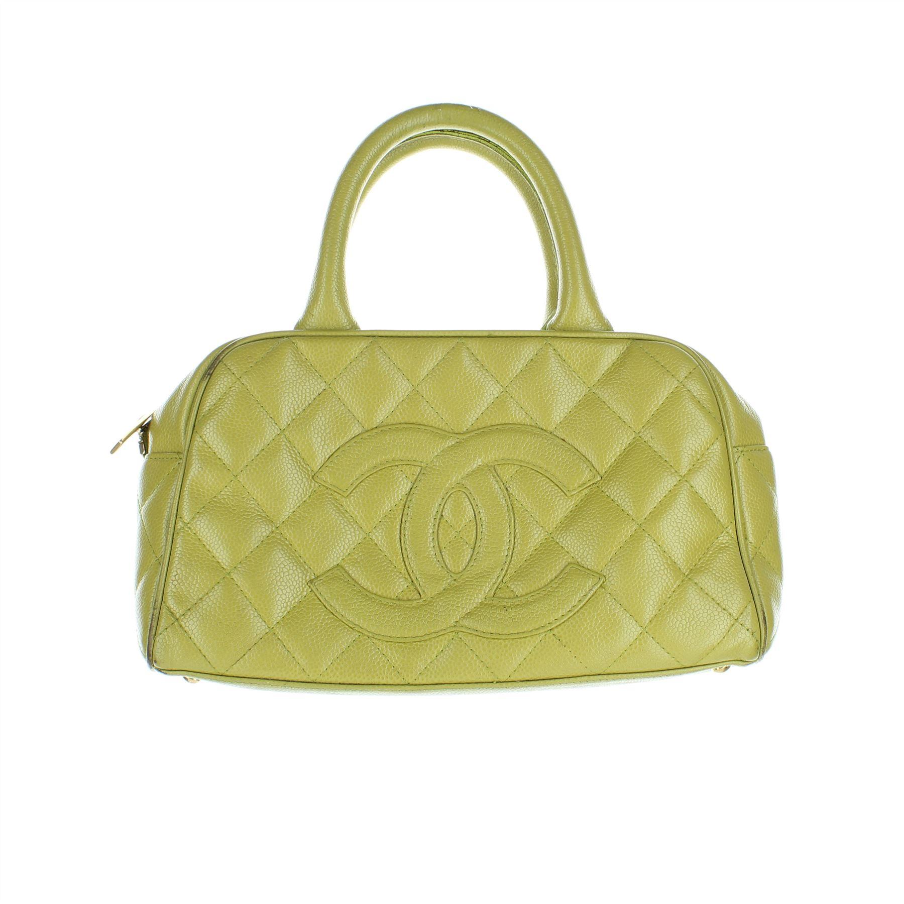 ba3c0e4f2 CHANEL Caviar Bowler Green Leather Handbag, 6.25