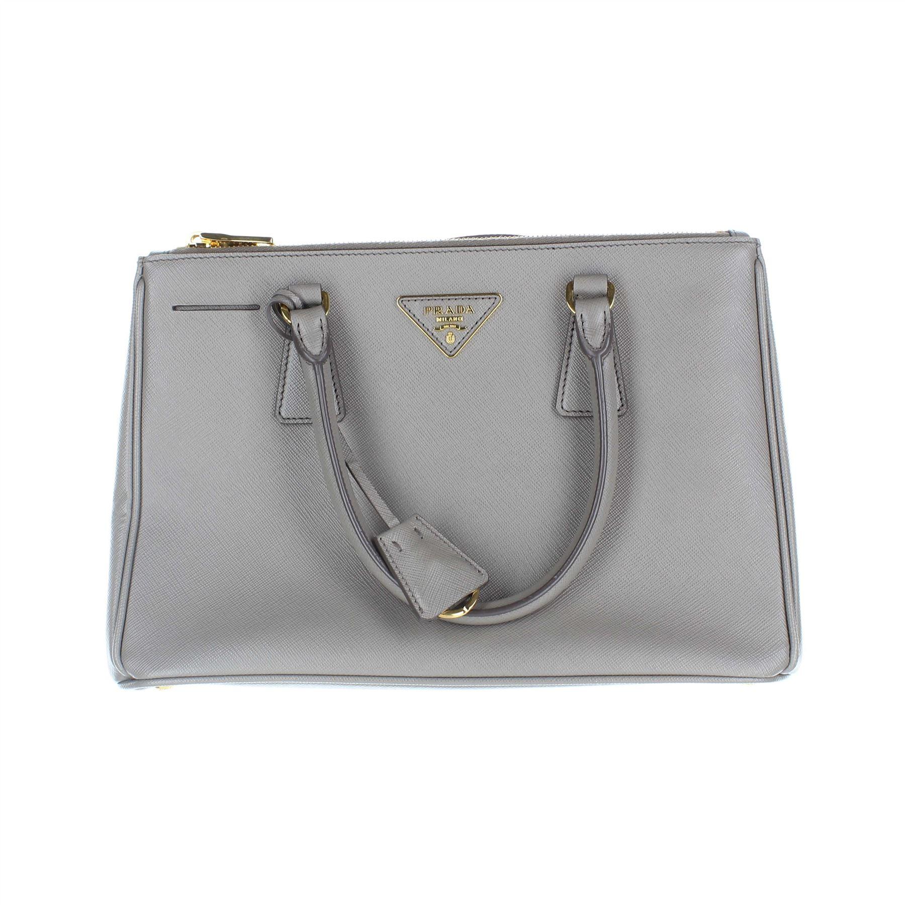 c26cd042eef931 PRADA Saffiano Lux Double Zip Grey Tote Bag, 8