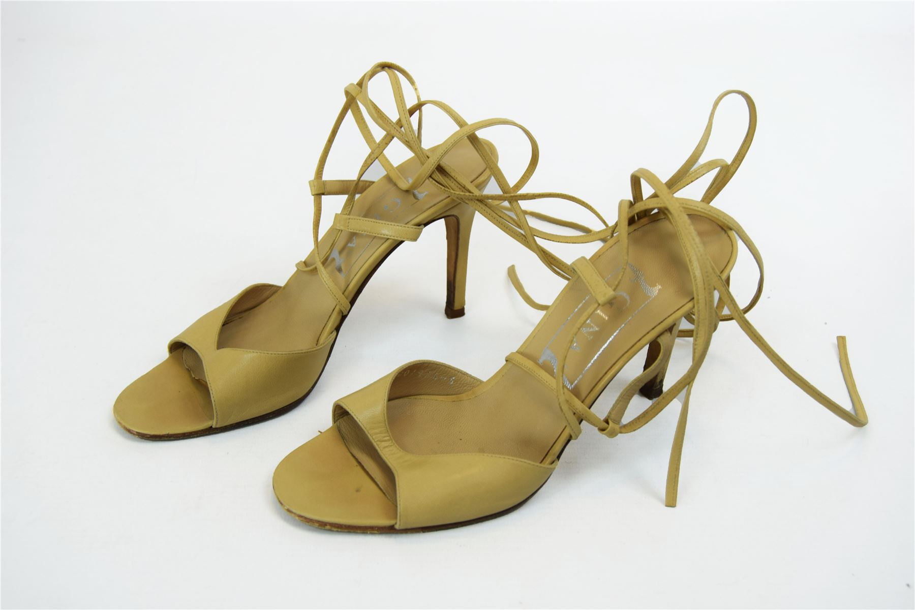 463c9d75e GINA Beige Sandals with High Heels