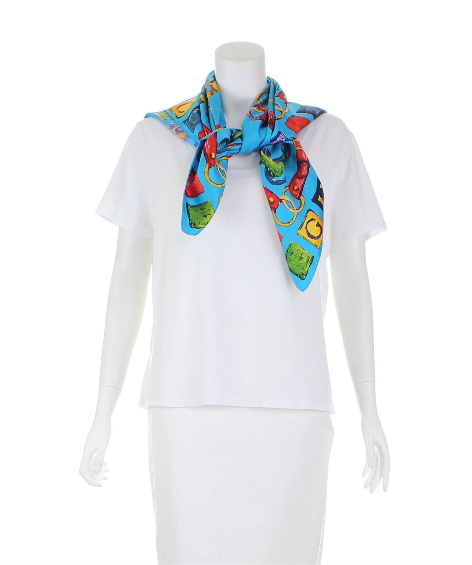 e855147ff7d37 Dettagli su GUCCI Vintage Sciarpa di seta blu
