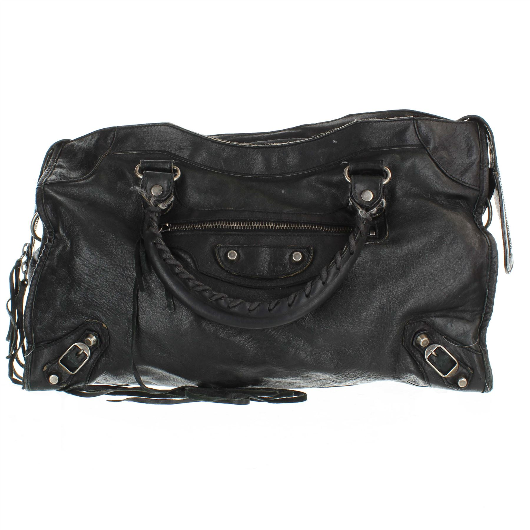 nuova collezione 98629 902b6 Dettagli su BALENCIAGA City Borsa a tracolla in pelle nera, 9.25' X 5' X 15'
