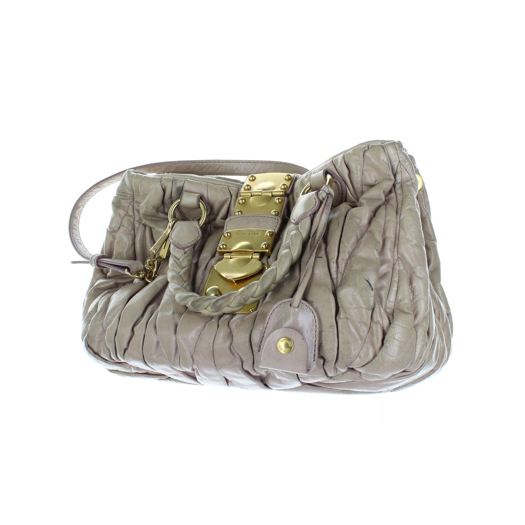 810ad523d99a Details about MIU MIU Matelassé Beige Leather Satchel