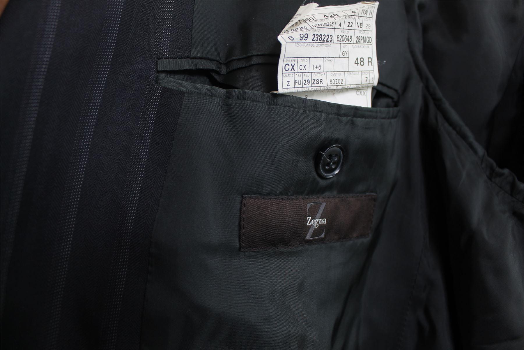 ERMENEGILDO ZEGNA Nero a strisce di lana Suit f2f16819d78