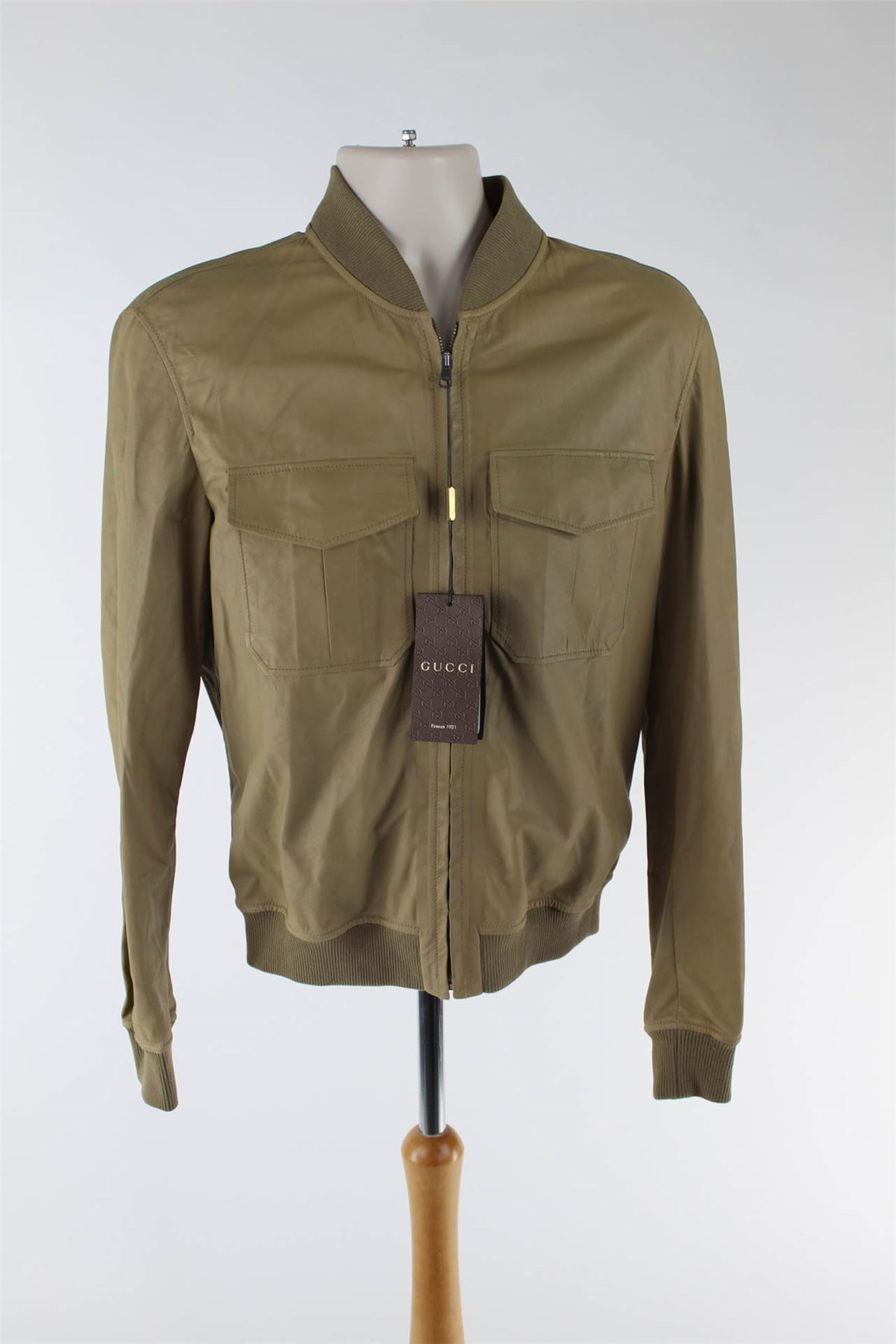 Details about GUCCI Beige Leather Bomber Jacket 80fe55b7a