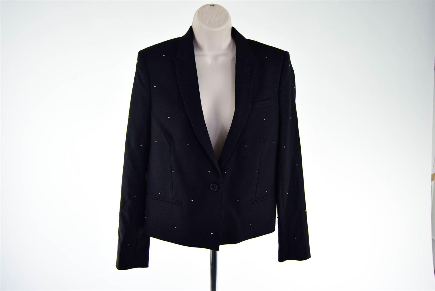 45605d9be55 Details about THE KOOPLES Black Wool Blend Studded Blazer Jacket, UK 10 US  6 EU 38