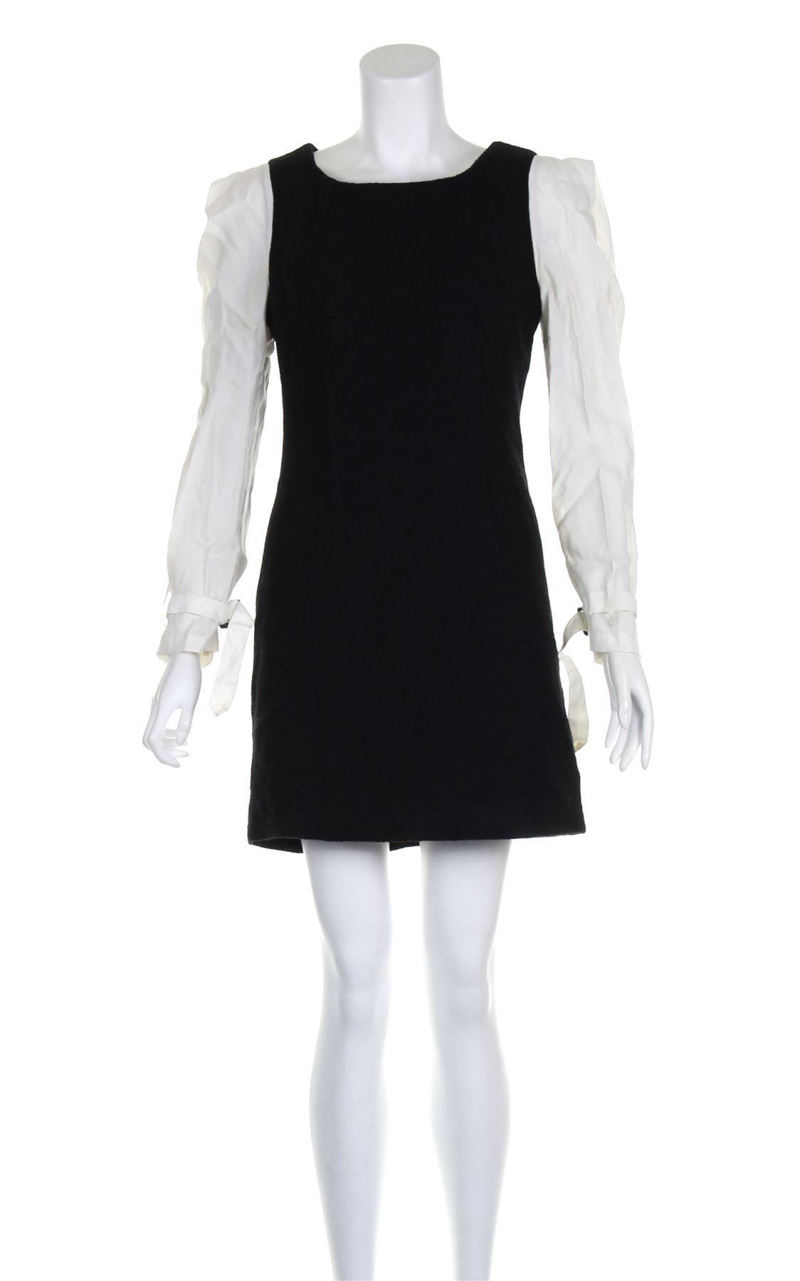708137c0c BALENCIAGA Negro de lana blanca mini vestido