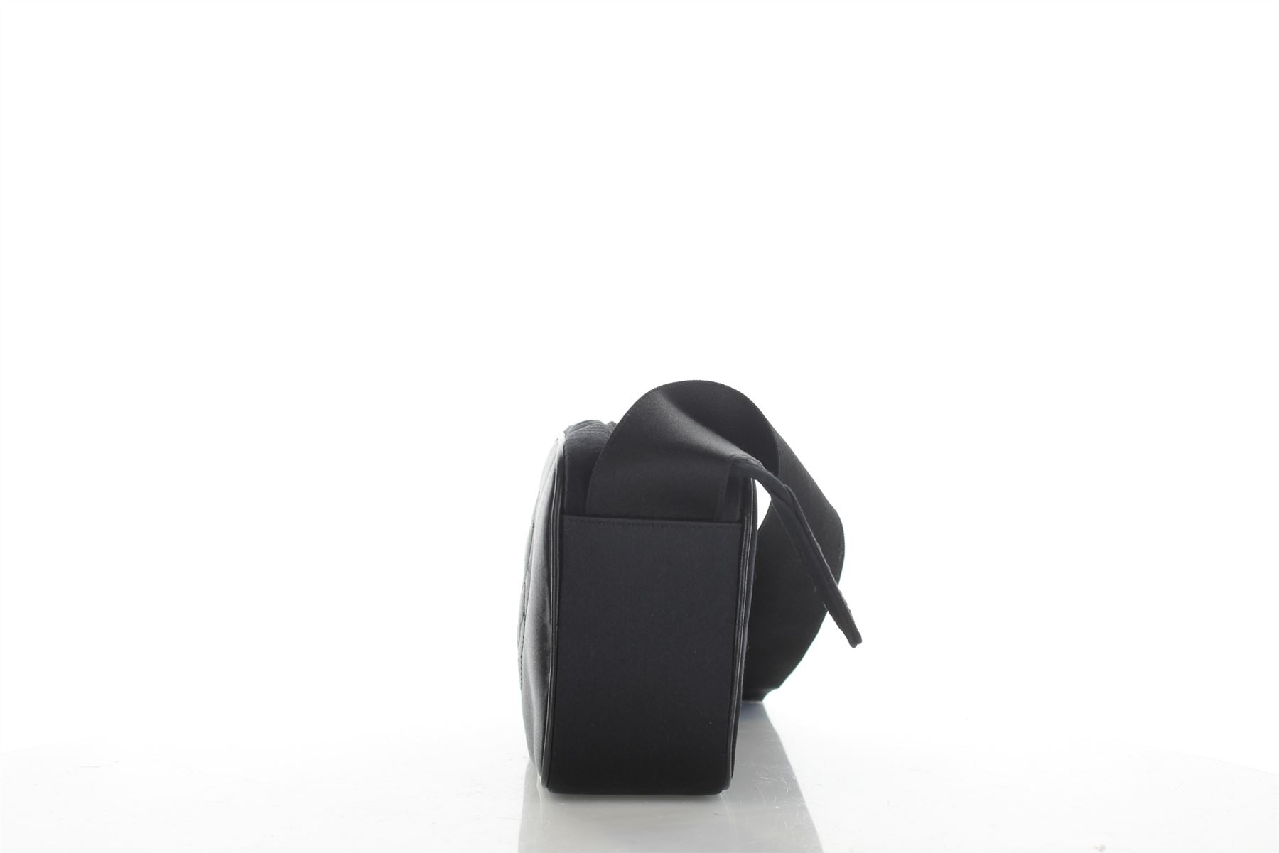 CHANEL Bow Camellia Black Satin Crossbody Bag 90875502ce878