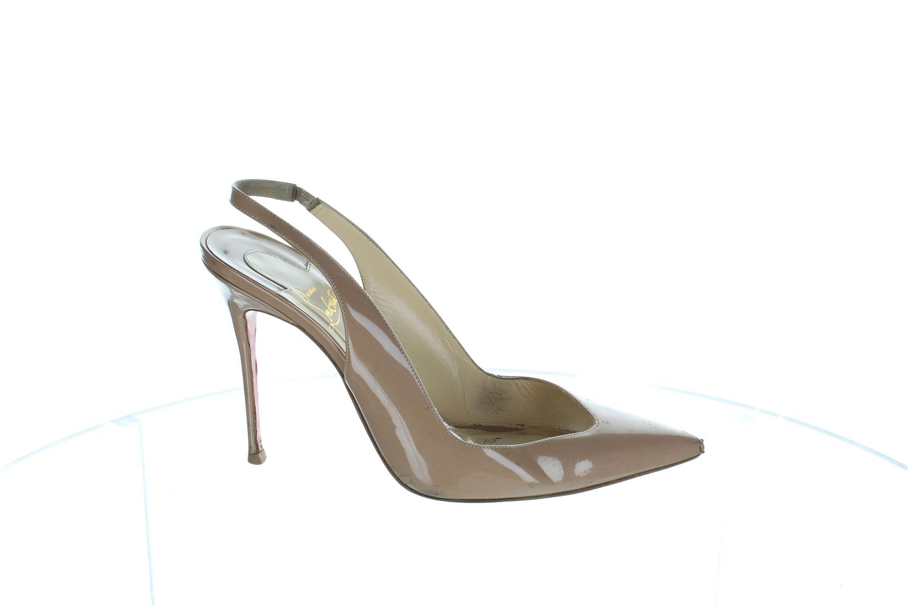 5ab9059aa ... new zealand christian louboutin flueve beige patent leather heels pumps  uk 7 us 10 eu 40