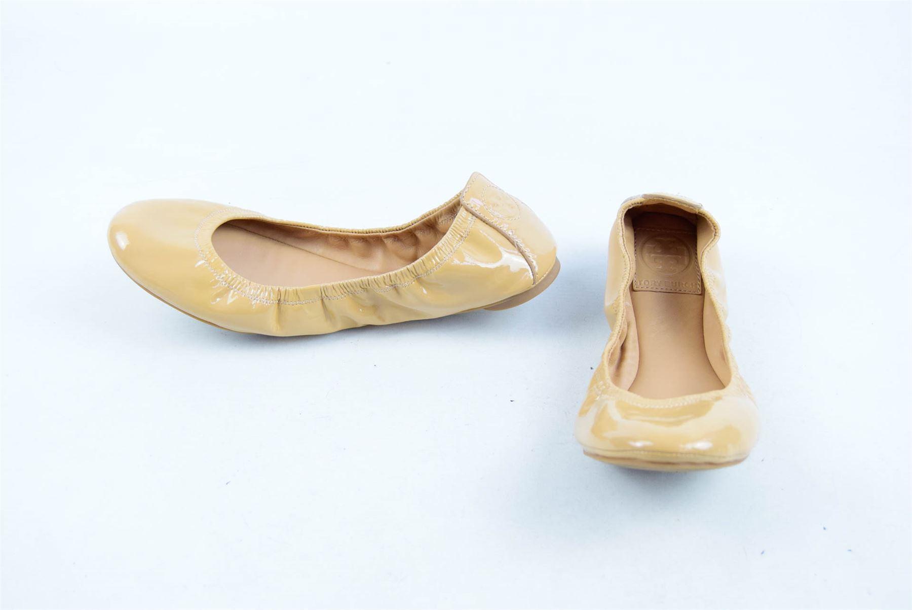 TORY BURCH Nude Patent Ballerina Shoes, UK 5 US 7.5 EU 38