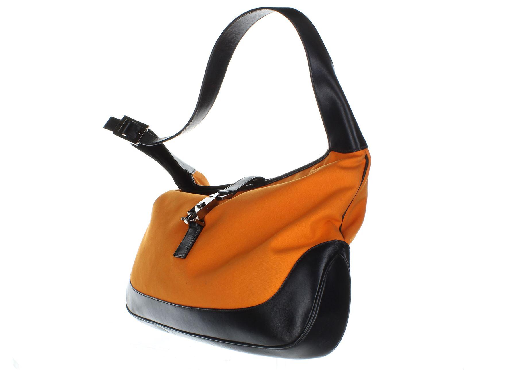 95e801abd3 GUCCI Jackie O Hobo Arancione Canvas Shoulder Bag in pelle, 9.5 X 2