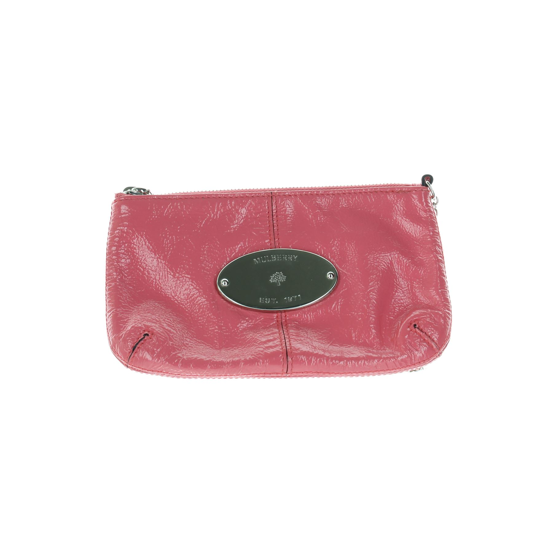 MULBERRY Charlie Pink Patent Leather Clutch Bag, 5