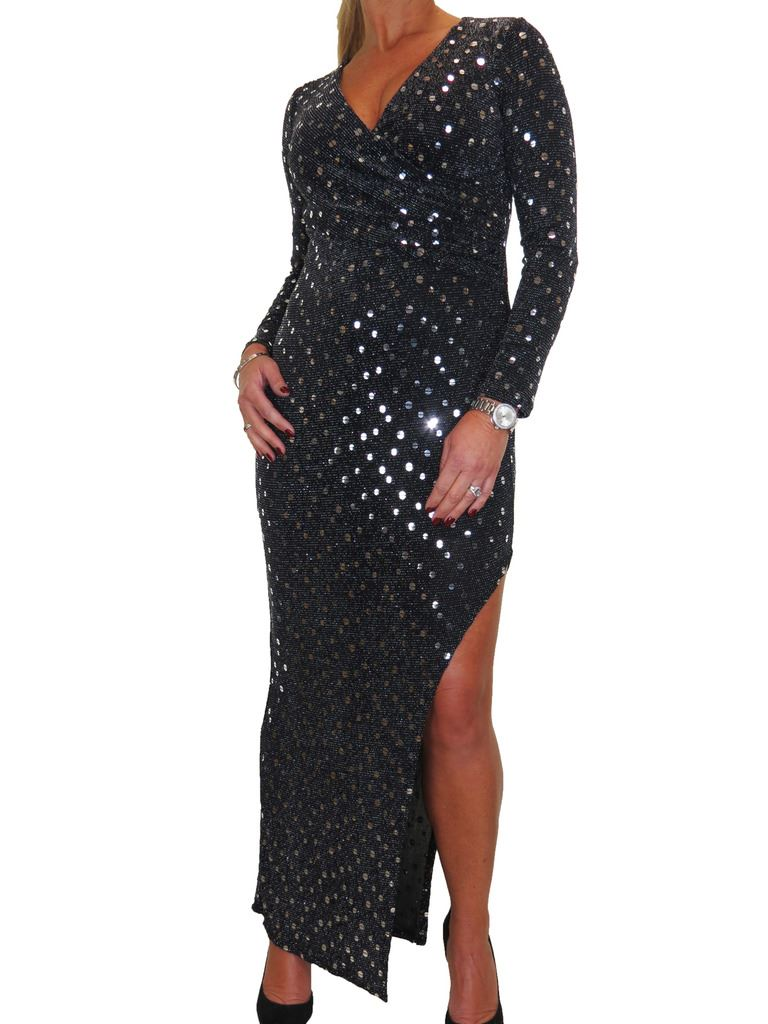 Da Donna Elasticizzato Lurex Shimmer Shimmer Shimmer Gamba Aperta Abito lungo nero 10-18 f590da