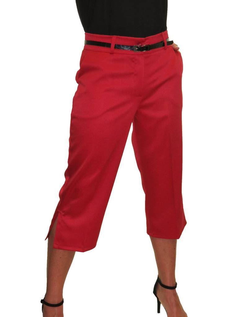 Ladies-Smart-Crop-Capri-Trousers-Matt-Satin-Evening-Easy-Fit-With-Belt-NEW-8-22 thumbnail 16