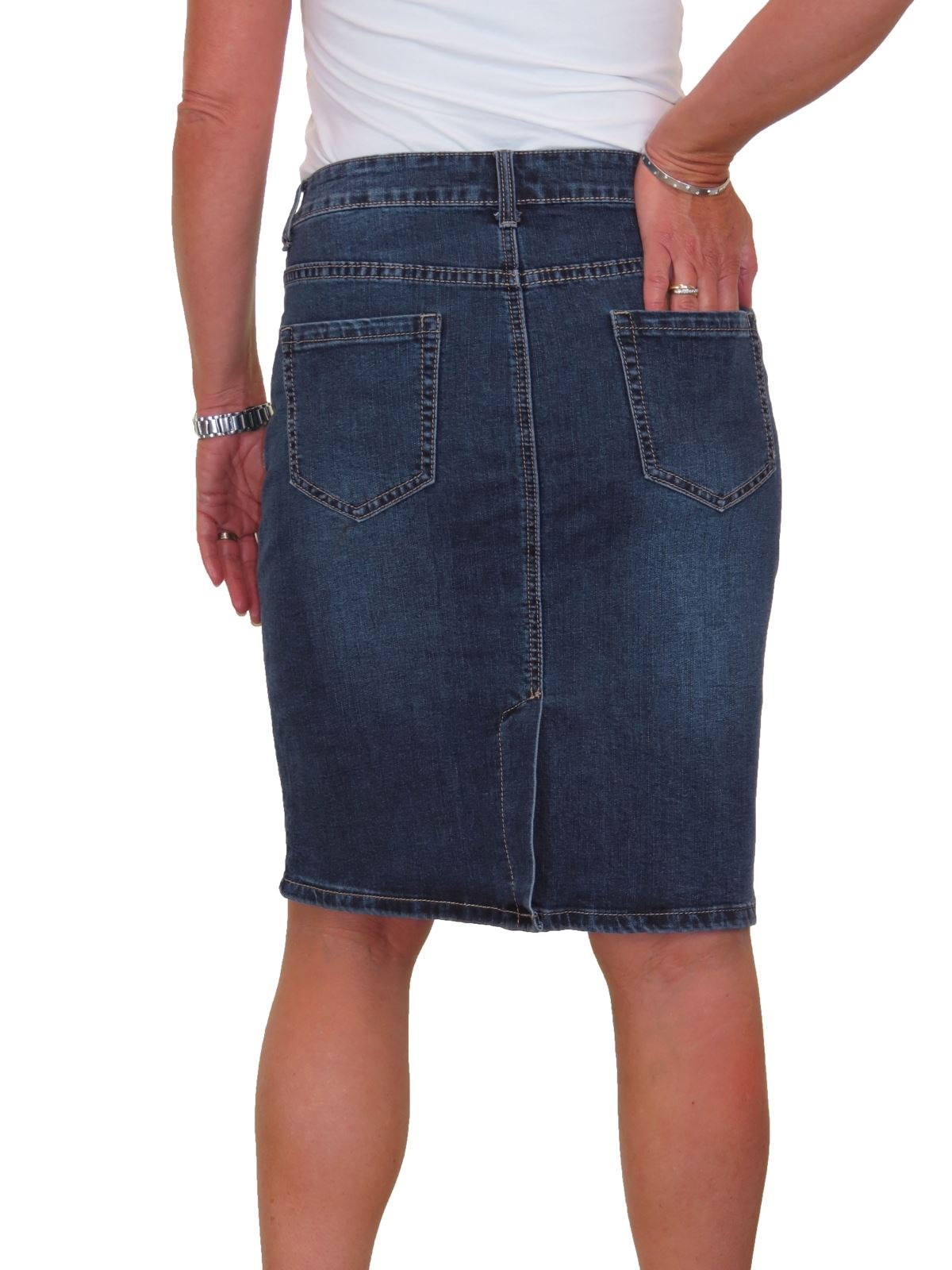 ICE-Stretch-Denim-Above-Knee-Jeans-Pencil-Skirt-Faded-Wash-10-18 thumbnail 4