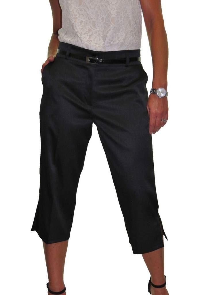 Ladies-Smart-Crop-Capri-Trousers-Matt-Satin-Evening-Easy-Fit-With-Belt-NEW-8-22 thumbnail 10