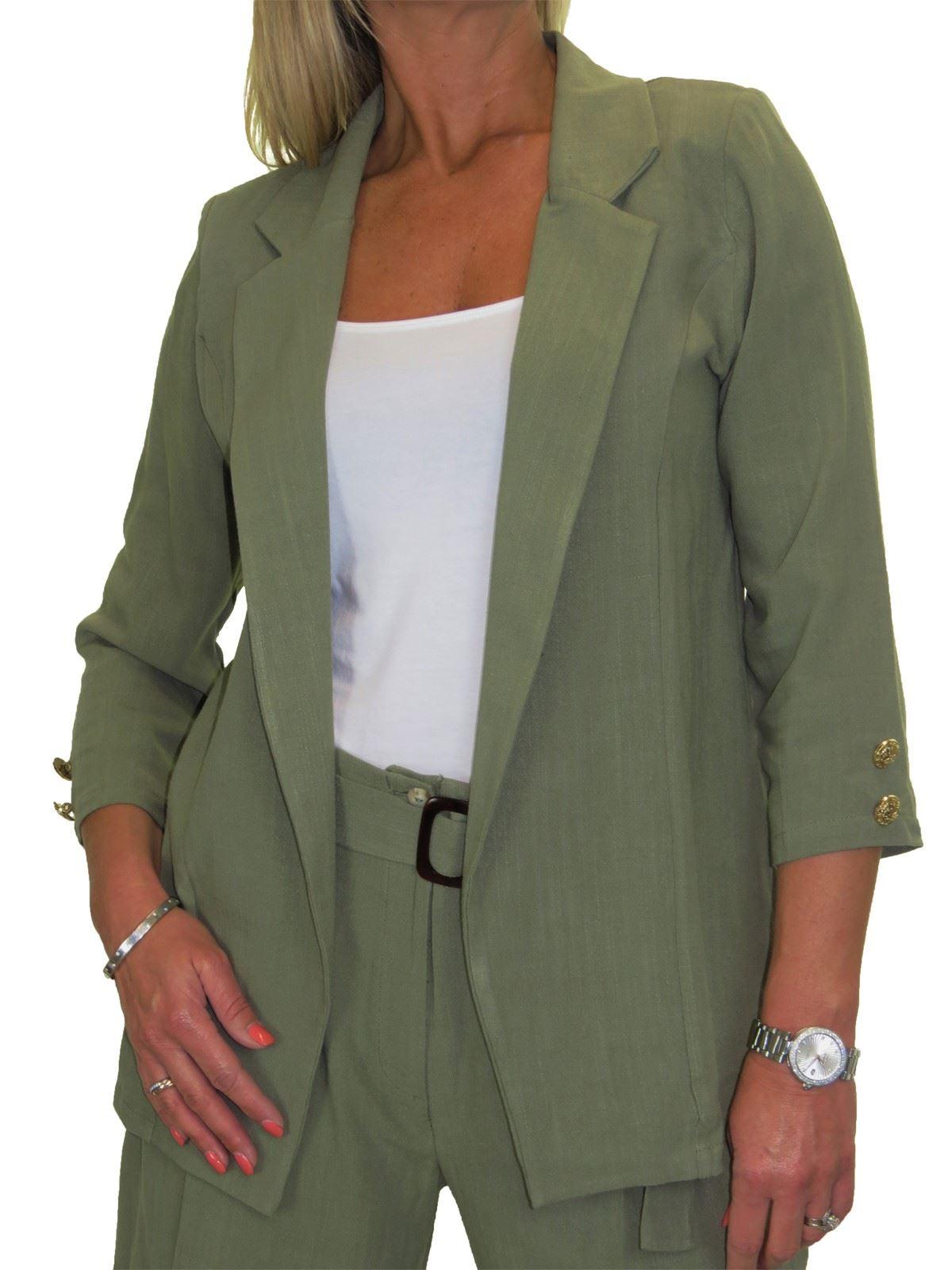 Womens Summer Lightweight Soft Linen Jacket Open Front 10-22