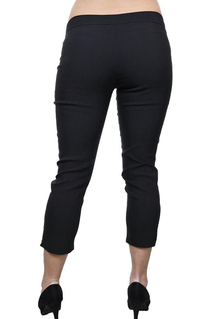 Womens-Stretchy-Low-Rise-Capri-Trousers-Leg-Zip-Detail-Black-6-18 thumbnail 4