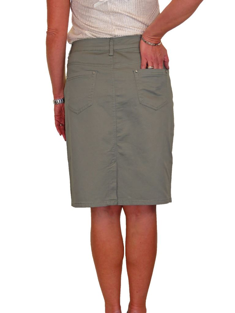 ICE-Stretch-Chino-Jeans-Style-Below-Knee-Pencil-Skirt-10-22 thumbnail 8