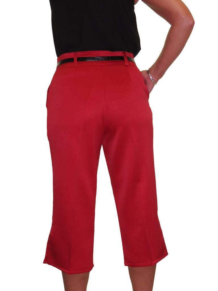 Ladies-Smart-Crop-Capri-Trousers-Matt-Satin-Evening-Easy-Fit-With-Belt-NEW-8-22 thumbnail 18
