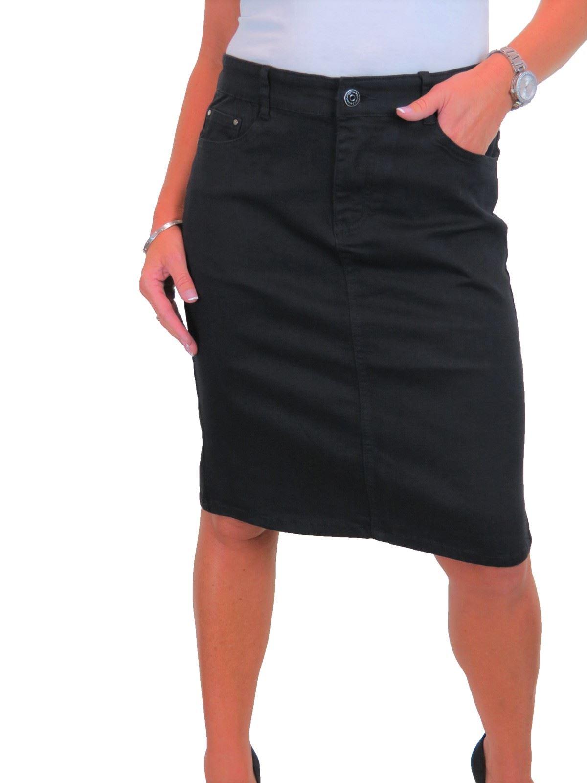 ICE-Womens-Good-Stretch-Jeans-Skirt-Knee-Length-14-22 thumbnail 5