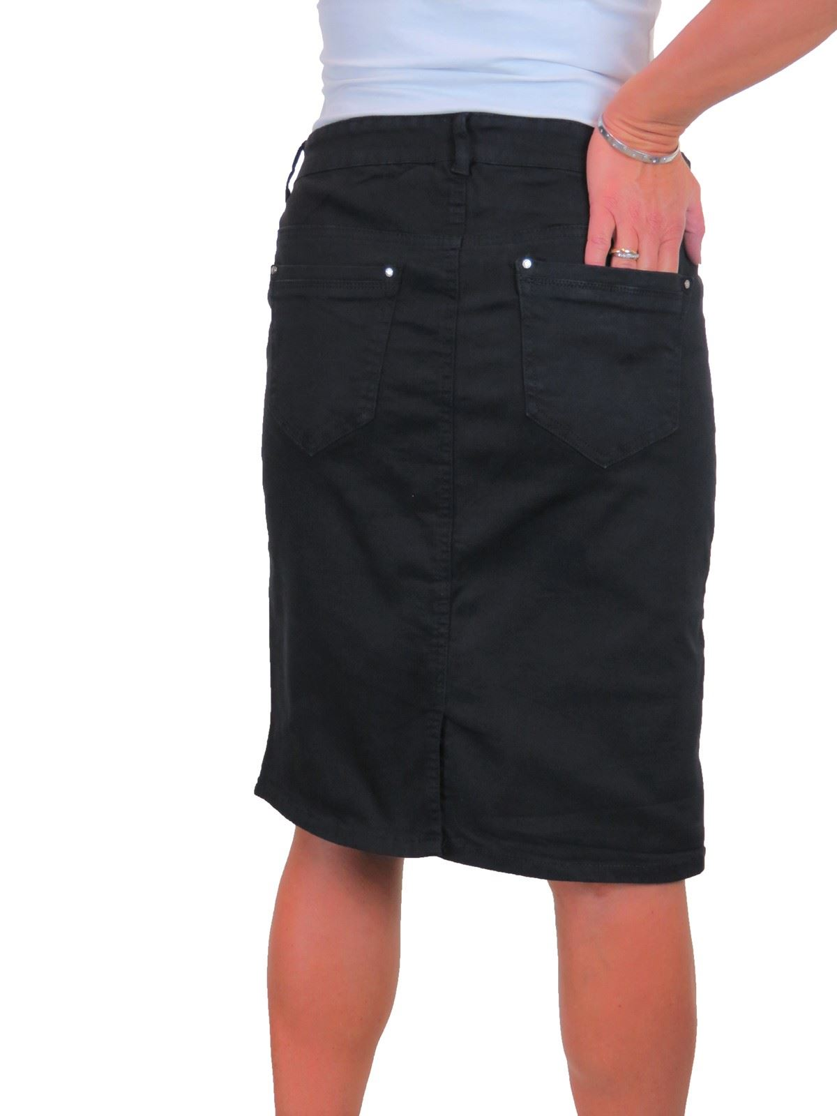 ICE-Womens-Good-Stretch-Jeans-Skirt-Knee-Length-14-22 thumbnail 4