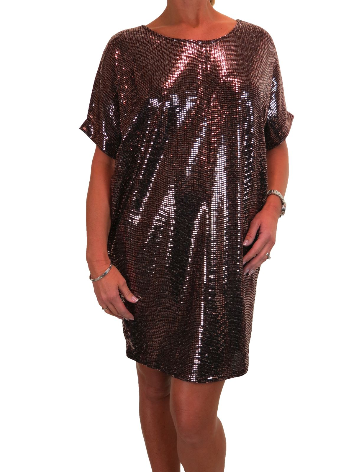 Womens Ladies New Brown Sequin Bandeau Party Evening Bodycon Dress UK 10-18