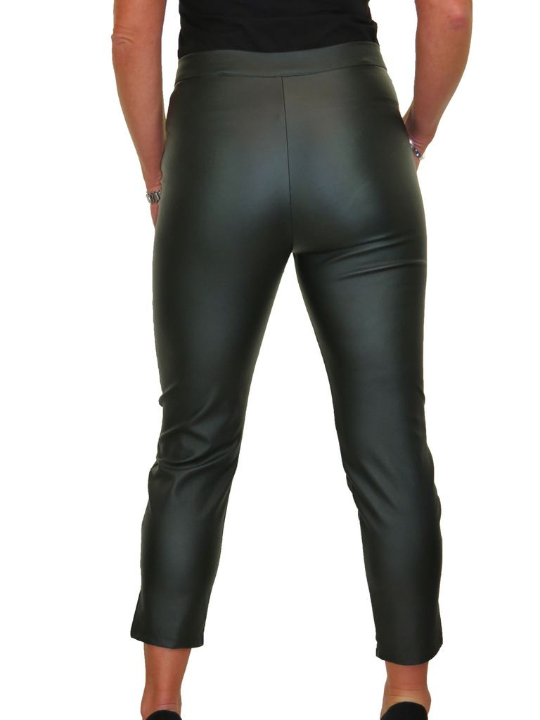 ICE-Womens-High-Waist-Stretch-Leather-Look-Capri-Trousers-10-22 thumbnail 12