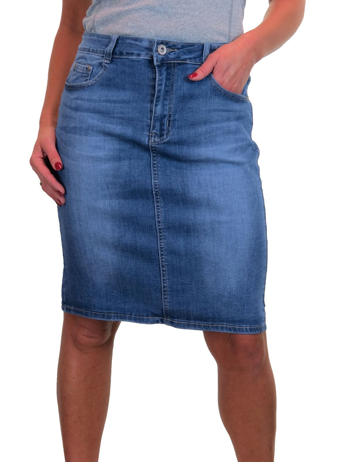 ICE-Knee-Length-Denim-Skirt-With-Great-Stretch-Jeans-Skirt-10-22 thumbnail 13
