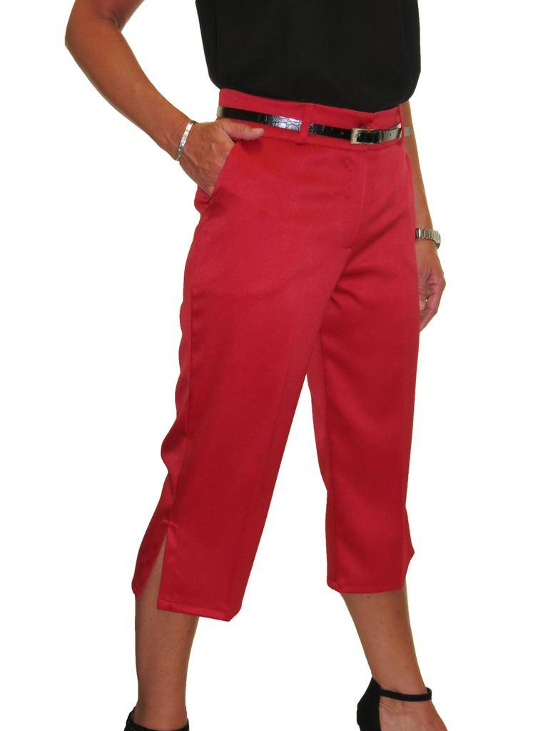 Ladies-Smart-Crop-Capri-Trousers-Matt-Satin-Evening-Easy-Fit-With-Belt-NEW-8-22 thumbnail 19