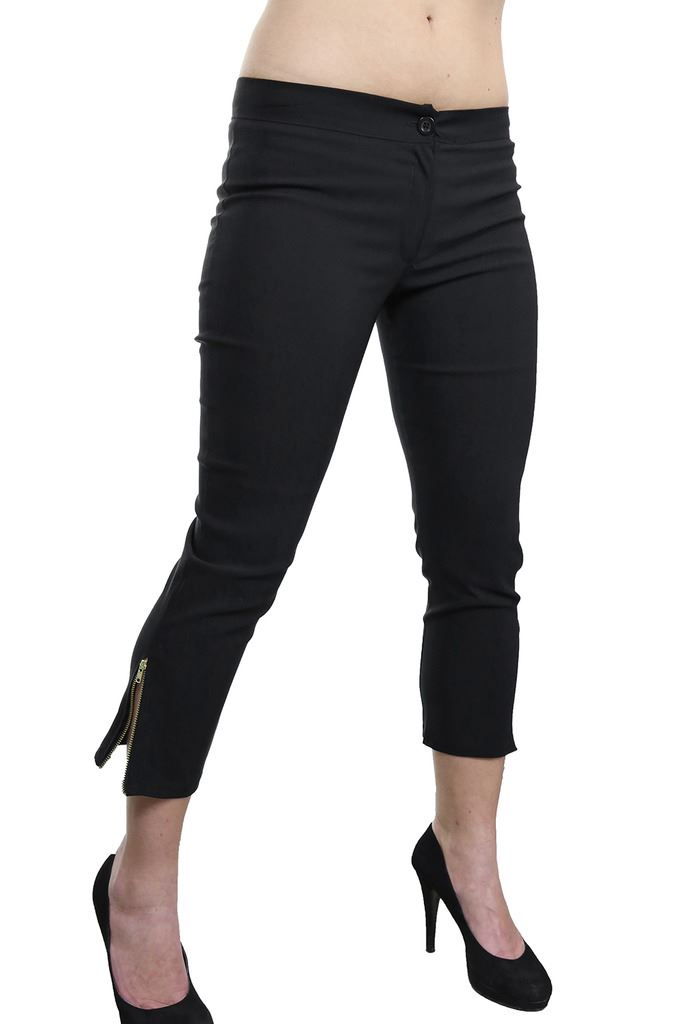 Womens-Stretchy-Low-Rise-Capri-Trousers-Leg-Zip-Detail-Black-6-18 thumbnail 3