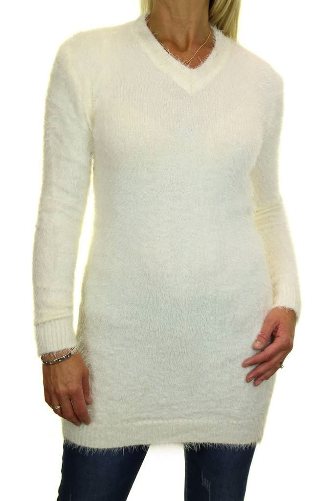 NEW Ladies Hairy Knit Tunic Jumper With Pockets 6-18