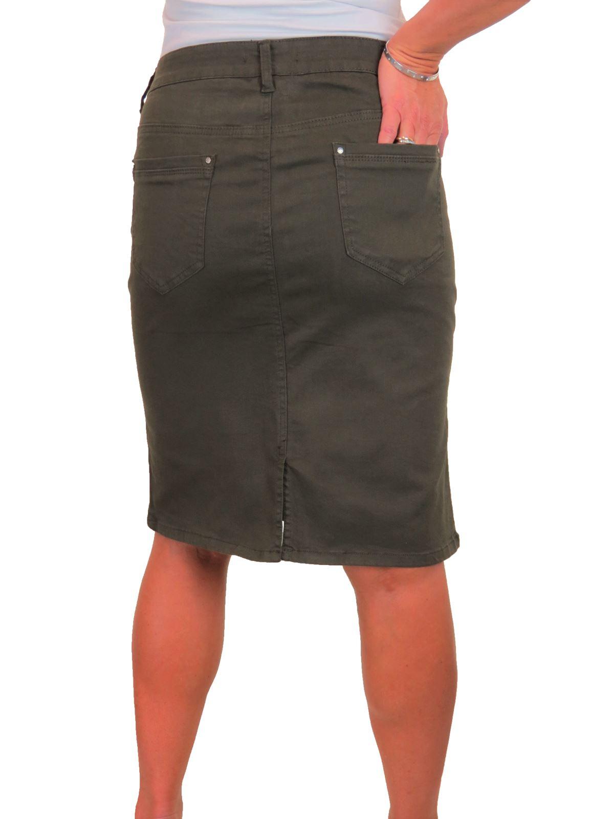 ICE-Womens-Good-Stretch-Jeans-Skirt-Knee-Length-14-22 thumbnail 12