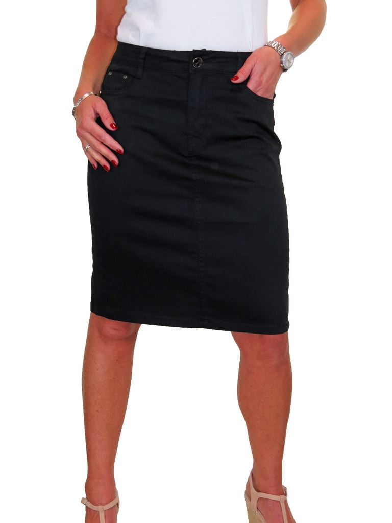 ICE-Stretch-Chino-Jeans-Style-Below-Knee-Pencil-Skirt-10-22 thumbnail 5
