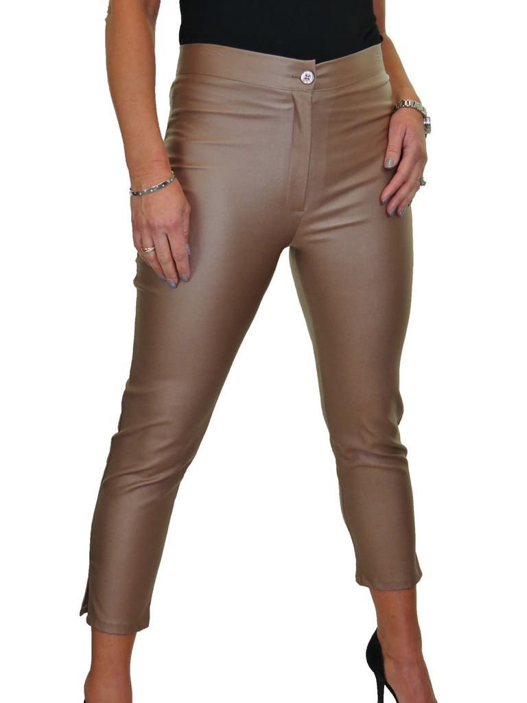 ICE-Womens-High-Waist-Stretch-Leather-Look-Capri-Trousers-10-22 thumbnail 17