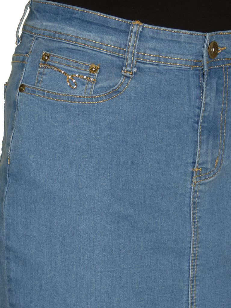 ICE-2550-Stretch-Denim-Above-Knee-Length-Jeans-Skirt-Mid-Blue-Size-8 thumbnail 6