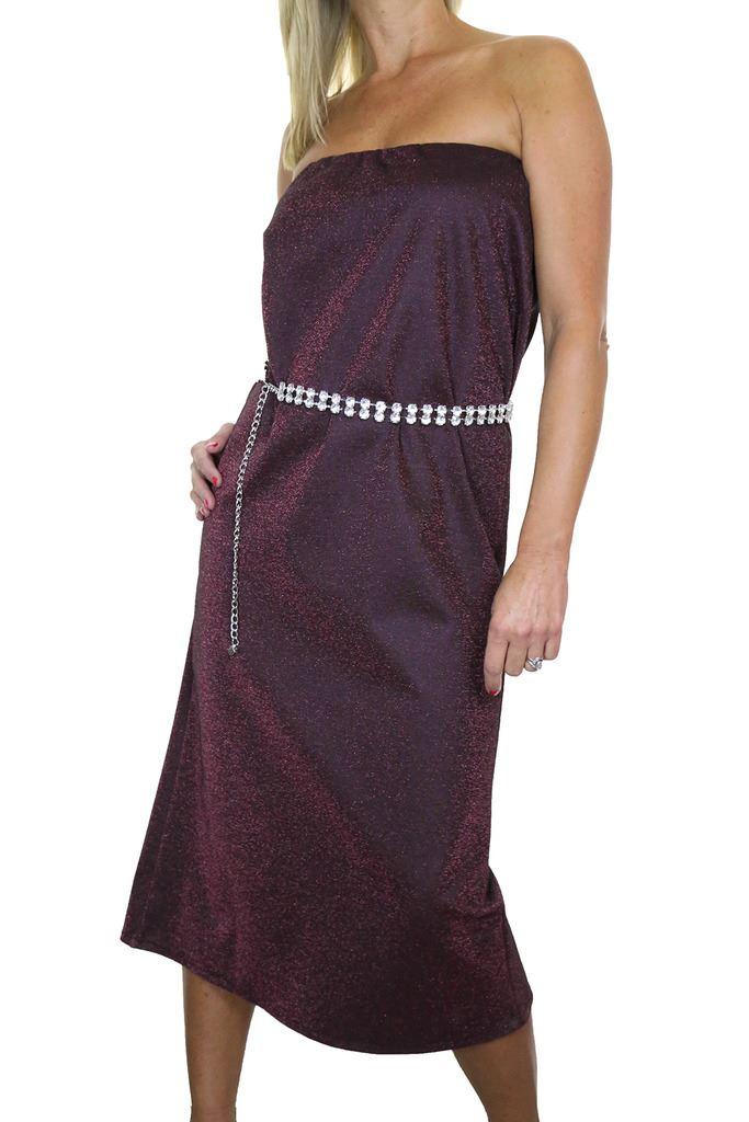 Bandeau-Midi-Maxi-Dress-Stretchy-Glitter-10-16 thumbnail 4