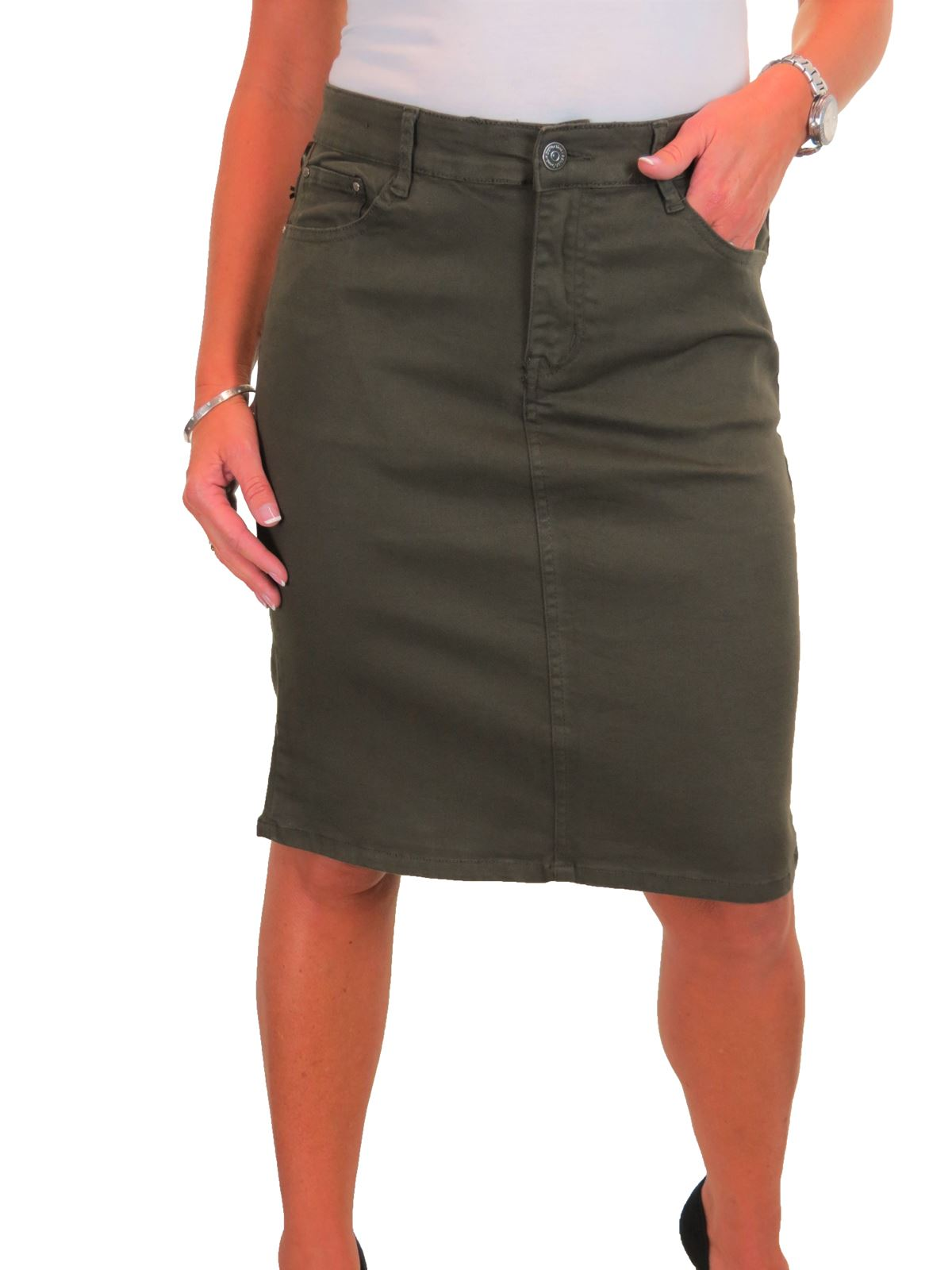 ICE-Womens-Good-Stretch-Jeans-Skirt-Knee-Length-14-22 thumbnail 13