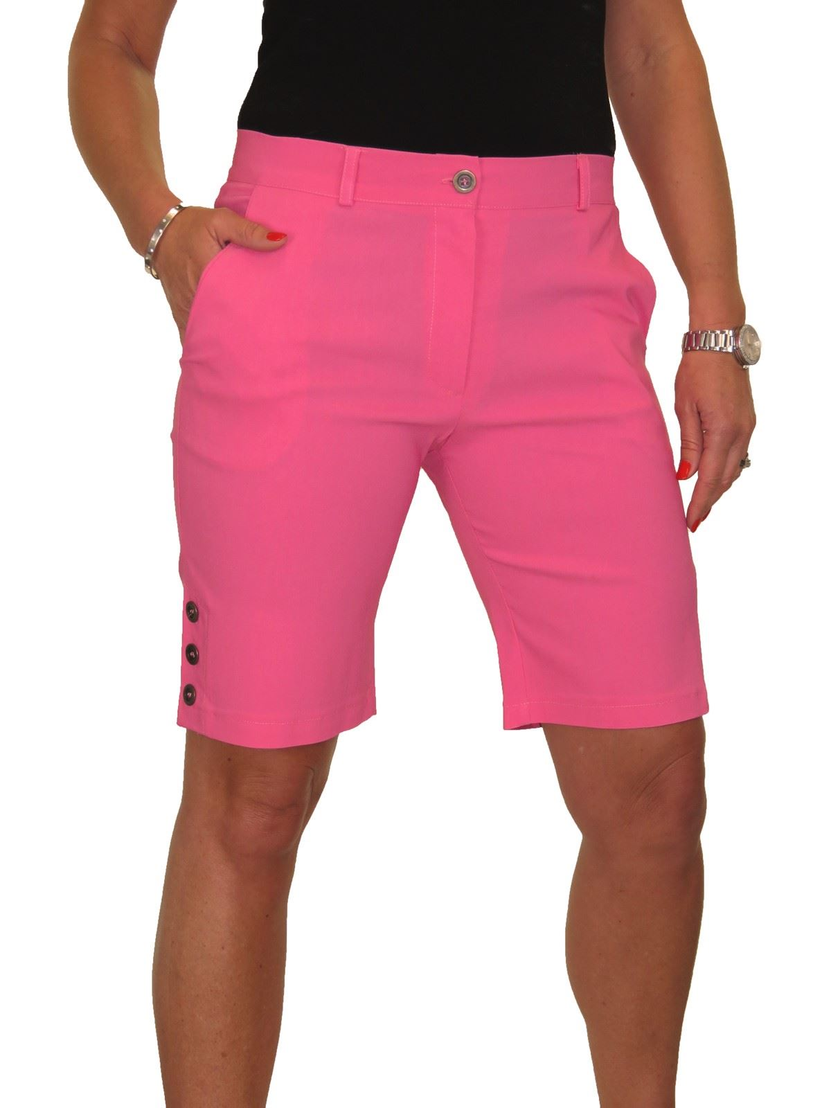 NEW Ladies Stretch Light Weight Shorts Mid Rise With Button Detail 8-22