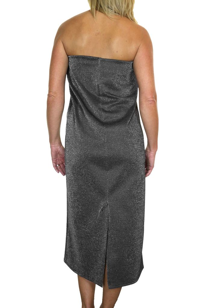 Bandeau-Midi-Maxi-Dress-Stretchy-Glitter-10-16 thumbnail 7