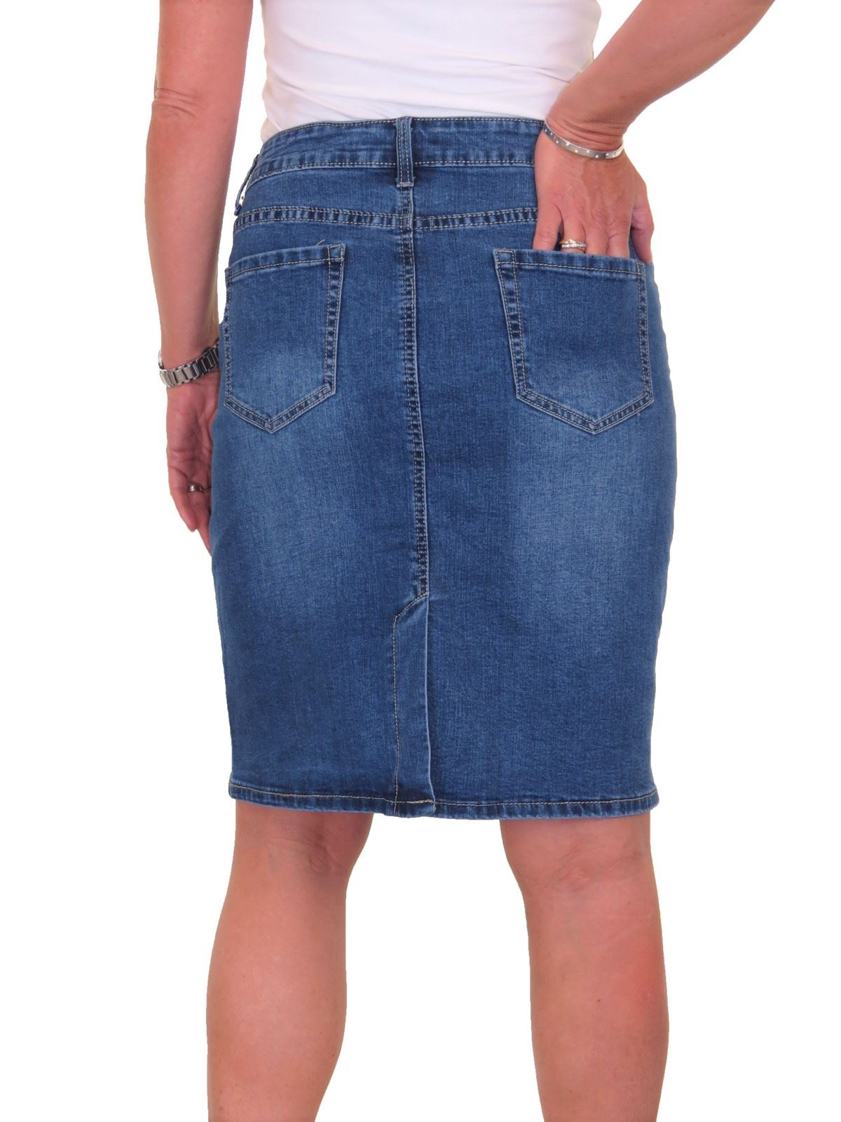 ICE-Stretch-Denim-Above-Knee-Jeans-Pencil-Skirt-Faded-Wash-10-18 thumbnail 8