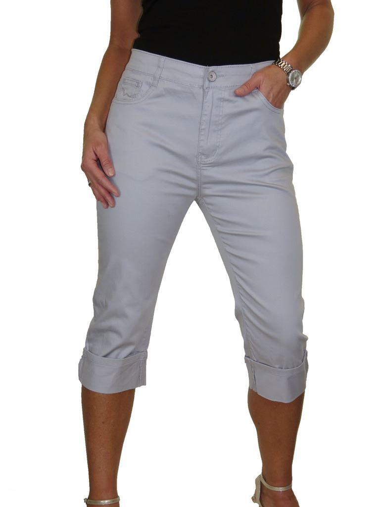 a795517321f8 Womens Mid Rise Stretch Chino Turn Up Cuff Crop Leg Jeans 16-18 | eBay